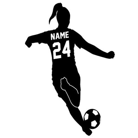 Custom Name Girls Soccer Player Wall Decal with Personalized Name and Soccer Ball