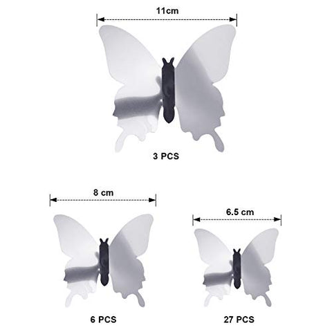 BBTO 48 Pieces DIY Mirror Butterfly Combination 3D Butterfly Wall Stickers Decals Home Decoration (Silver)