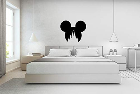 Mouse Face Magic Castle Kingdom Sticker Decals in a Variety of Colours and Sizes (8cm x 7cm, Black)