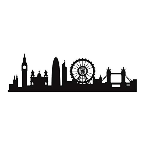"Vinyl Wall Art Decal - London Skyline - 20"" x 66.5"" - Unique Modern England British Europe UK City Home Bedroom Living Room Store Shop Mural Indoor Outdoor Silhouette Adhesive Decor"