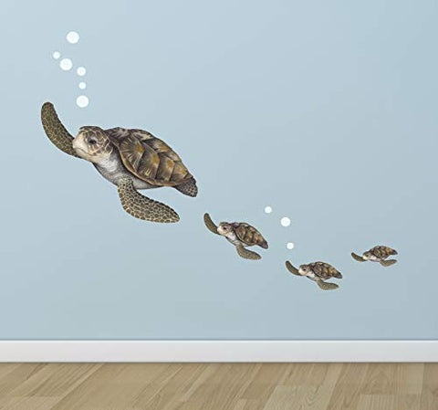 Create-A-Mural : Sea Turtle Family Wall Decals ~Under The Sea Decor Wall Stickers, Underwater Ocean Decals for Walls, Peel n Stick Room Decor Tortoise Vinyl Art for Bedroom Playroom Birthday Gift