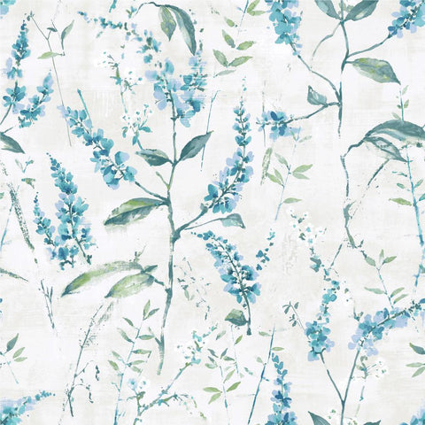 BLUE FLORAL SPRIG PEEL & STICK WALLPAPER