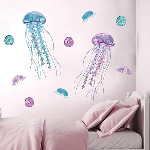 decalmile Jellyfish Wall Stickers Ocean Wall Decals Living Room Bedroom Bathroom Wall Decor