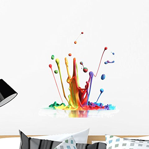 Wallmonkeys FOT-32598418-24 WM142986 Colorful Paint Splashing Isolated on White Peel and Stick Wall Decals (24 in H x 22 in W), Medium