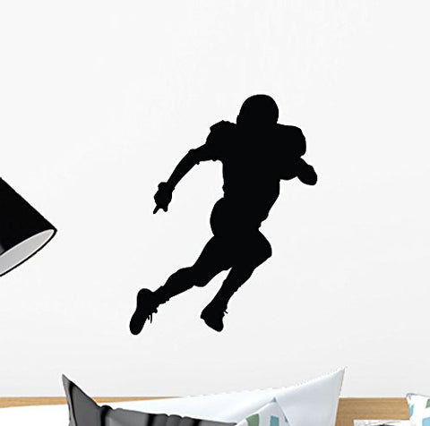 Wallmonkeys Running Football Silhouette Wall Decal Peel and Stick Graphic (12 in H x 9 in W) WM269316