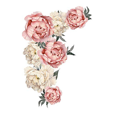 Flowers Wall Sticker Peony Rose, Outivity Waterproof PVC Wall Decals Flowers for Sofa Background Living Room Bedroom Kitchen Nursery Room Decorations (Pink, L)