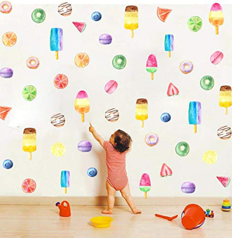 TOARTi Donuts and Ice Cream Wall Decal (48Pcs), Fruit Dessert Popsicle Sticker for Nursery Fridge Decoration, Colorful Summer Sticker for Children's Day Decor