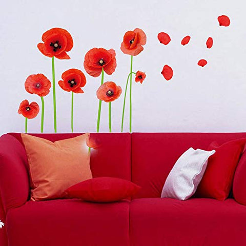 Esmee DIY Red Poppies Beautiful Flowers Vines Stick Wall Decals, Living Room Bedroom Children Room Nursery