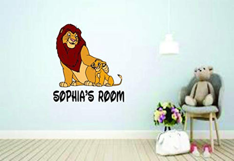 Lion King Disney Movie Cartoon Children Custom Personalized Name Sticker Animated Movie Disney Wall Decals for Kids Bedroom/Boys Wall Decor Vinyl Sticker Art Simba Zazu Family Size 20x20 inch