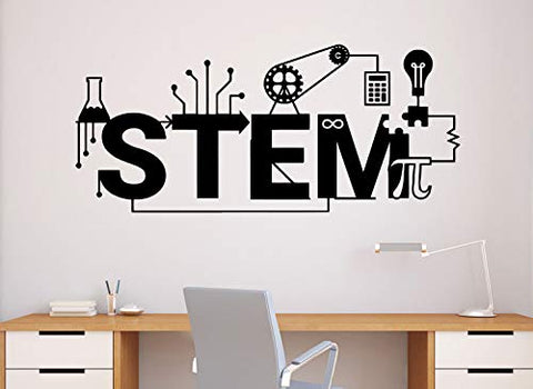 Stem Wall Decal Science Vinyl Sticker Science Technology Engineering Mathematics Decor Classroom Interior (64n)