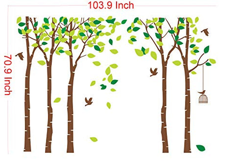 LUCKKYY Large Five Family Trees with Birds and Birdcage Tree Wall Decal Tree Wall Sticker Kids Room Nursery Bedroom Living Room Decoration (103.9x70.9) (Brown)