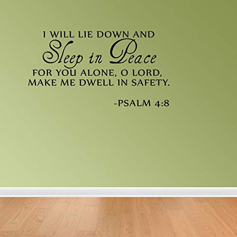 Empresal Sleep in Peace Psalm 4:8 Bible Verse Lettering Wall Decal Decor Quote Inspire