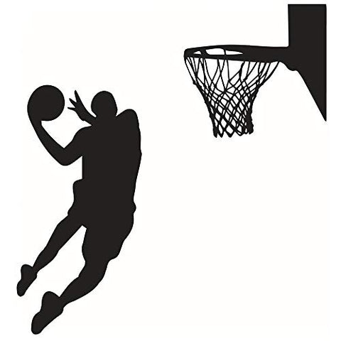 DNVEN 22 inches x 43 inches Vinyl Basketball Players Slam Dunk Silhouette with Basketball and Basketry Wall Decals Stickers Murals for Basketball Fatheads Kids Teens Boys Rooms