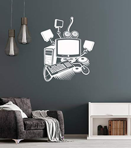 Vinyl Wall Decal Computer Art Gamer Play Room PC Kids Mural Stickers (ig3213) Black
