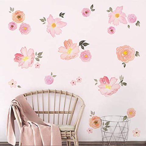 decalmile Pink Flower Wall Decals Watercolor Blooming Peony Floral Wall Stickers Girls Bedroom Wedding Party Decoration