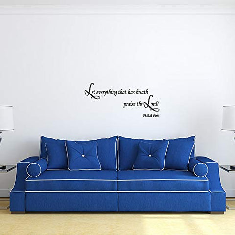 ZSSZ Let Everything That has Breath Praise The Lord! Psalm 150:6 Bible Verse Wall Decals Christian Quotes Religious Motto Home Décor