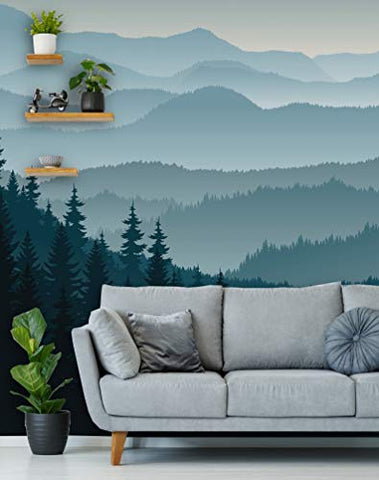 "Removable Peel 'n Stick Wallpaper, Self-Adhesive Wall Mural, 3D Mountain Mural Wallpaper, Nursery • Ombre Blue Mountain Pine Forest Trees (24""W x 96""H Inches)"