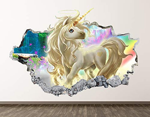 "West Mountain Unicorn Wall Decal Art Decor 3D Smashed Kids Fantasy Sticker Mural Nursery Girl Gift BL05 (22"" W x 14"" H)"
