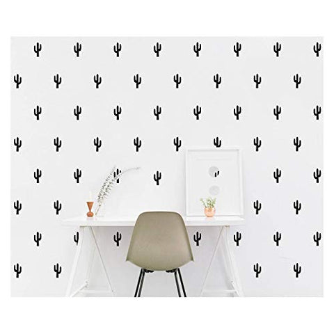 JOYRESIDE 48 Pieces/Set Cactus Decals Wall Vinyl Sticker Home House Nursery Desin Cacti for Baby Kids Boy Girl Bedroom Living Room Decoration Art Decor YMX20 (Black)
