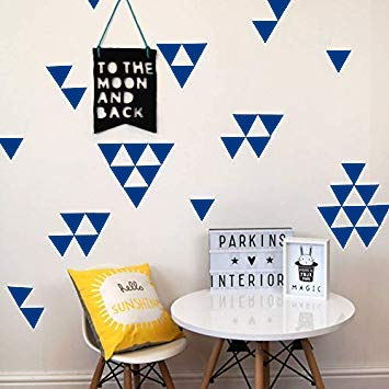 Removable Wall Decals Dark Blue Triangle, 2 Inch 128pcs, Easy To Peel Easy To Stick, Safe On Walls And Paint, Vinyl Decor By Bugybagy (Dark Blue Triangle, 2 Inch)