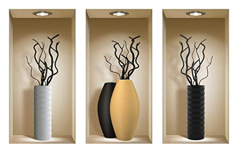 THE NISHA 3 PC Pack Art Magic Peel and Stick 3D Vinyl Removable Wall Sticker Decals DIY Sticky Backsplash, Black Branches 762-2