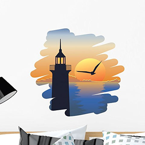 Wallmonkeys Lighthouse at Sunset Wall Decal Peel and Stick Graphic WM270918 (24 in W x 22 in H)