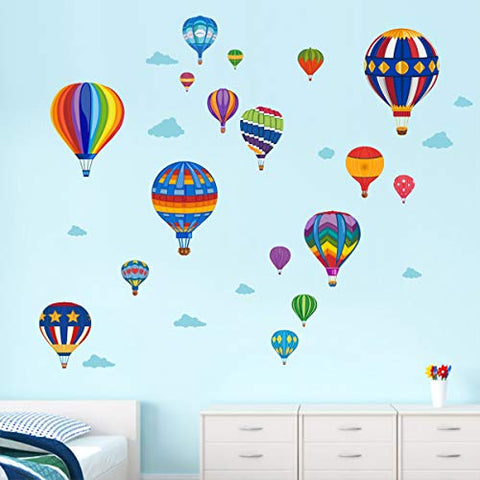 Runtoo Hot Air Balloon Wall Decals Kids Adventure Wall Stickers Bedroom Classroom Playroom Nursery Wall Art Décor