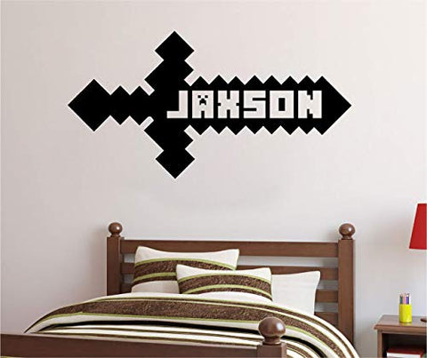 Personalized Custom Video Gamer Sword Name Wall Decal Sticker Customized Sign Monogram Stencil Choose Size Color