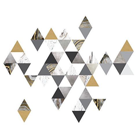 Modern Art Wall Decals, Gold, Gray, Marble, Triangles, Geometric Decals, Repositionable, Fabric Wall Decals Plus 6 Bonus Metallic Gold Triangle Vinyl Decals