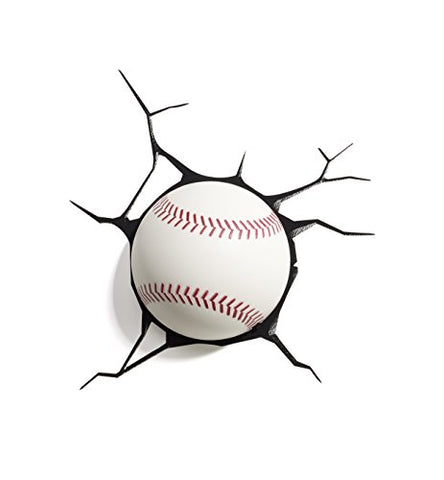 Panoware 3D Light FX Sports Mini 3D Deco Wall LED Night Light with Crack Wall Sticker, Baseball