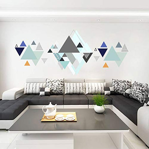 Peel and Stick Wall Decals Removable Abstract Mountain Wall Art Stickers for Home Office Nursery Decor(Grey and Blue Geometry)