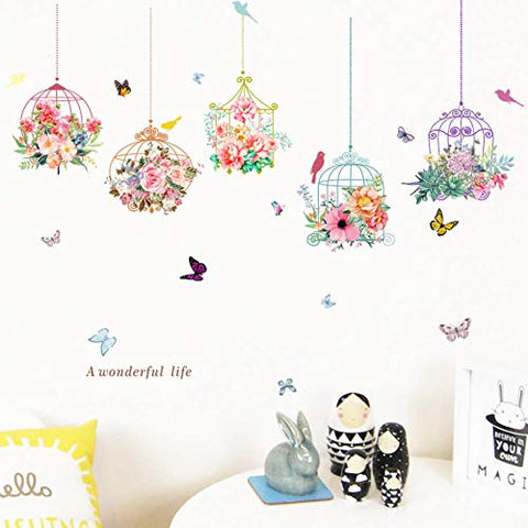 Colorful Garden 3D Vivid Plants Flower Wall Stickers Living Room Fower Butterfly Bonsai Wall Decals DIY Mural Art Posters(Bird Cage)