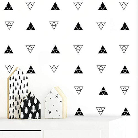 JUEKUI Set of 80 Mountain Tribal Patterned Triangles Wall Sticker Geometrical Triangle Decals Removable Vinyl Wall Stickers for Kids Rooms Baby Bedroom Nursery Decor WS11 (Black)
