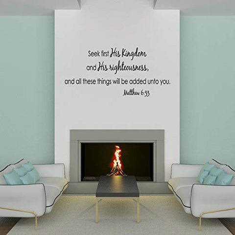 Empresal Wall Decal Quote Matthew 6 Seek First His Kingdom and His Righteousness Bible Scripture Sticker