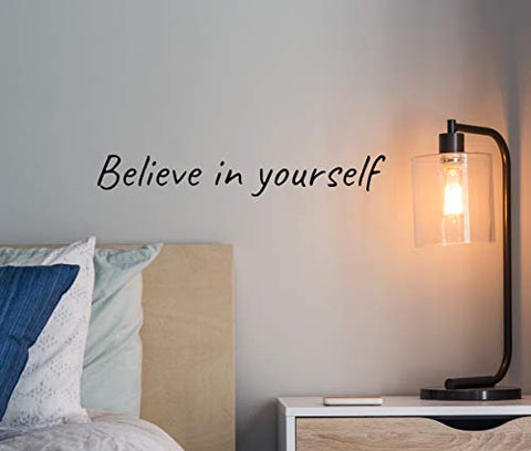 "Believe in Yourself – Inspirational Wall Decals & Positive Quotes Wall Decor – Large Motivational Wall Decals Quotes for Classroom, Bedroom & Home Gym – Vinyl Wall Words and Quotes (Black,24"")"