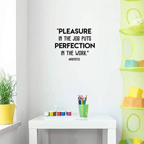 "Vinyl Wall Art Decal - Pleasure in The Job - 17"" x 21"" - Trendy Motivational Quote for Home Office Space Work Place Decoration Sticker"