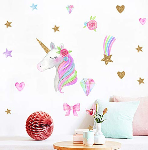 Unicorn Wall Decals Bedroom Wall Decor Girls Wall Decals Unicorn Peel and Stick Removable Wall Decals Watercolour -15.8X15.8in