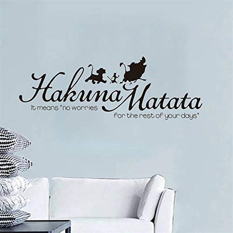 Hakuna Matata Wall Decal - Lion King Quote No Worries Wall Art Sticker - Timon Pumbaa and Simba Silhouette for Nursery Kids Room Decor