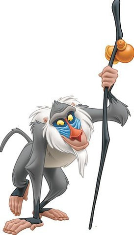 12 Inch Rafiki Baboon Monkey Lion King Movie Animal Removable Peel Self Stick Adhesive Vinyl Decorative Wall Decal Sticker Art Kids Room Home Decor Girl Boy Children Bedroom 6 1/2 x 12 inch Tall