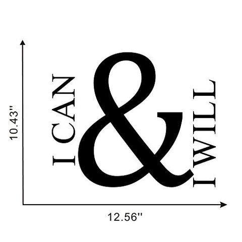 I CAN & I Will Wall Decal, Motivational Saying Positive Attitude Vinyl Wall Sticker for Classroom Bedroom Gym Room Decor,Inspiring Lettering Stickers Home Wall Decorations,Black