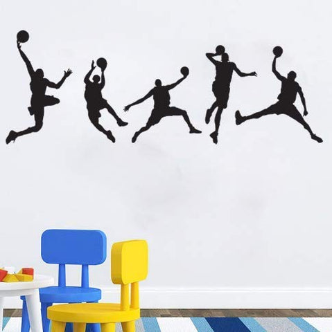 Basketball Players Wall Decals Slam Dunk DIY Wall Stickers for Kids Room Boys Bedroom (5 pcs)
