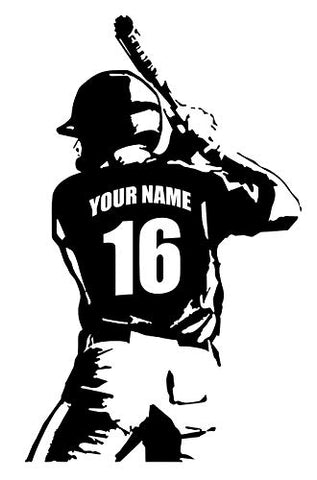"Personalized Custom Baseball Player Wall Decal - Choose Your Name & Numbers Custom Player Jerseys Vinyl Decal Sticker Decor Kids Bedroom (29"" W x 47"" T)"