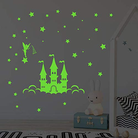 decalmile Glow in The Dark Fairy Castle Wall Decals Luminous Fluorescent Stars Wall Stickers Girls Bedroom Baby Nursery Wall Decor