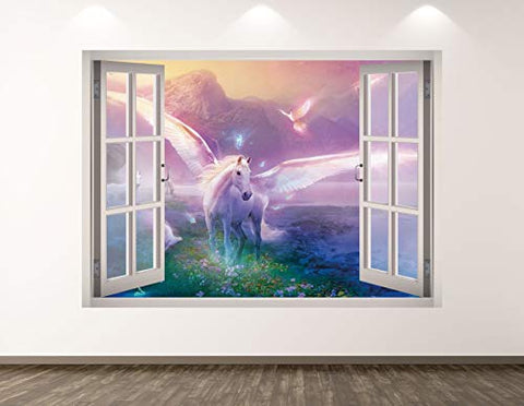 "West Mountain Unicorn Wall Decal Art Decor 3D Window Mythical Sticker Mural Kids Room Custom Gift BL30 (22"" W x 16"" H)"