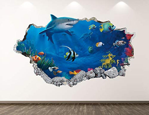 "West Mountain Shark Wall Decal Art Decor 3D Smashed Aquarium Sticker Poster Kids Room Mural Custom Gift BL130 (22"" W x 14"" H)"