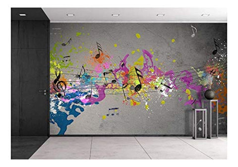 wall26 - Musical Grunge with Spray Background - Removable Wall Mural | Self-Adhesive Large Wallpaper - 66x96 inches