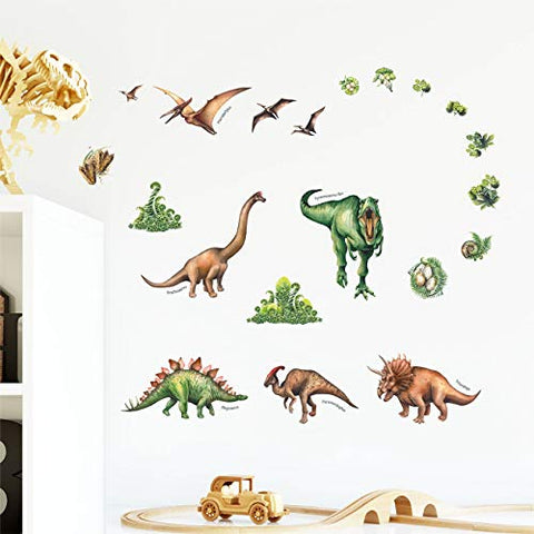 DECOWALL DS-8034 Watercolour Dinosaur Kids Wall Stickers Wall Decals Peel and Stick Removable Wall Stickers for Kids Nursery Bedroom Living Room (Small)