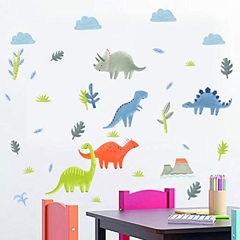 Funny Dinosaur Wall Decals - Dinosaurs Decorative Volcanic Wall Stick - Dinosaur Removable Wall Stickers for Kids Room Decor Wall Decals
