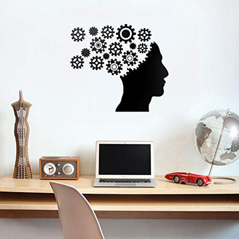 "Vinyl Wall Art Decal - Gear Brain - 20"" x 23"" - Modern Engineer Mechanical Cogwheel Figure Shapes for Home Living Room Apartment Closet Bedroom Work Dorm Room Office Decoration"
