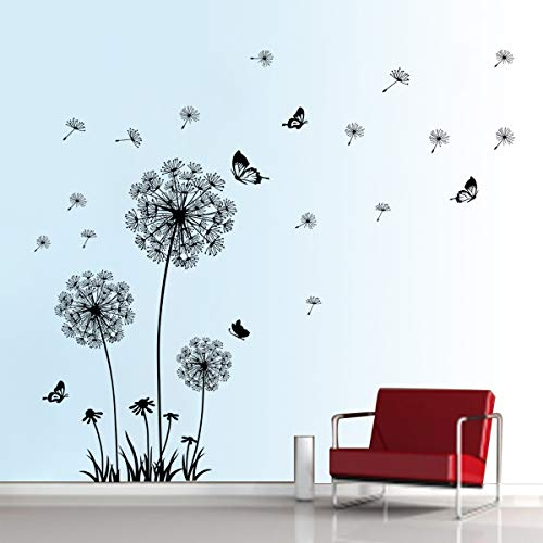 Decalmile Dandelion Wall Decals Flying Flowers Butterflies Wall Sticke Walldecals Com